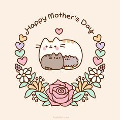 Pusheen is a tubby tabby cat who brings smiles and laughter to people all around the world! Mothers Day Cartoon, Happy Mothers Day Images, Mothers Day Poems, Mother Day Wishes, Happy Mom Day, Happy Mother's Day Card, Cute Drawings, Animal Drawings, Totoro