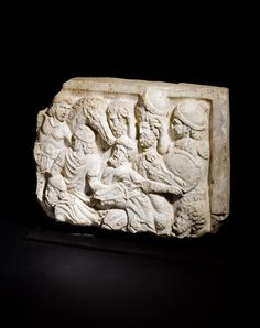 A Roman marble sarcophagus panel Circa Century A. Ancient Rome, Ancient History, Roman Artifacts, Anno Domini, Archaeology, Diaries, Past, Marble, Lion Sculpture