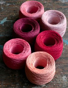 Linen yarn thread -- six balls -- pink, red