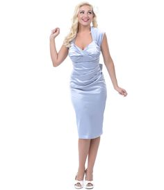 1940's Style Stop Staring Grey Fitted Satin Love Retro Wiggle Dress - Unique Vintage