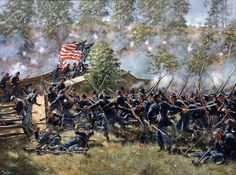 The 51st Pennsylvania Regiment storms across Burnside's Bridge at the Battle of Antietam, Md. This regiment was carrying three flags at the time