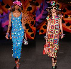 Moschino 2017 Resort Cruise Pre-Spring Womens Runway Catwalk Looks Collection - 1970s Seventies Hippie Tie-Dye Pop Art Animals Flowers Floral Embroidery Embellishments Adornments Bedazzled Jewels Chunky Knit Crochet Weave Boxing Shorts Crop Top Midriff Handbag Pumps Bangles Denim Jeans Cutoffs Boots Floppy Hat Beret Moto Biker Jacket Swimwear Bikini Purse Clutch Ornamental Stripes Tie Up Knot Lace Batwing Dress Leopard Tuxedo Jacket Pantsuit