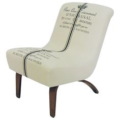 reupholstered chair | Vintage Armless Lounge Chair Newly Reupholstered by MODTextiles