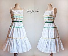 White Striped Summer Dress / Vintage Striped by AdrianJadeVintage, €40.00