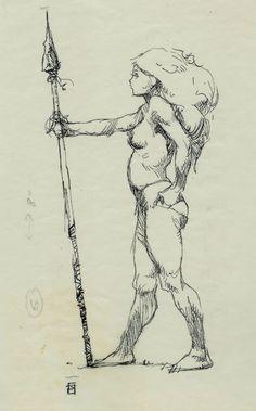 Jeff Jones 1970s Nude ink drawing 2 Comic Art
