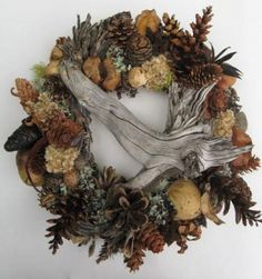 Cone and Dried Seed Pod Wreath With Driftwood