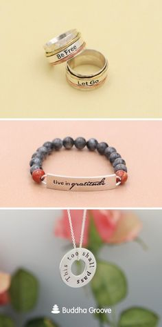 Be Free, Let Go Spinning Meditation Ring. Live in Gratitude Gemstone Bead Bracelet. This Too Shall Pass, All is Well 2-sided Necklace. Bracelet Quotes, Jewelry Quotes, Words Of Hope, Buddha Quote, Meditation Rings, Inspirational Jewelry, Spinning, Gratitude, Gemstone Beads