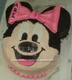 Homemade Mini Mouse Birthday Cake: I modeled this Mini Mouse Birthday Cake after another cake on this site.  The other woman used one 8 pan for the face and two 4 pans for the ears.  I couldn't