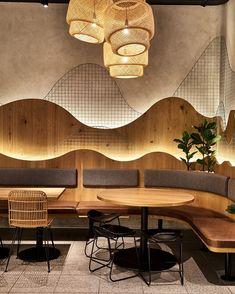 Woven feature pendant lighting at Ricefields Design Café, Bar Interior Design, Restaurant Interior Design, Cafe Interior, Store Design, Interior And Exterior, Commercial Design, Commercial Interiors, Deco Restaurant