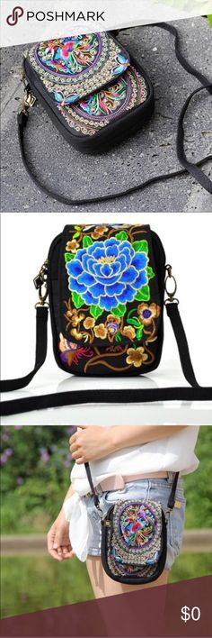 Boho Embroidered Mini Bag Detailed Dimensions:  Height 17x Width 12x Thickness 5CM, Diagonal Shoulder Strap 125CM.  2 color styles available: blue and multi.  Pictures Courtesy of Farrah Jewelry.    Picture 1= color Multi Picture 2= color Blue Farah Jewelry Bags Mini Bags