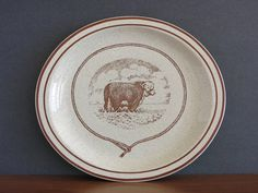 Vintage Syracuse China Western Themed Platter or Plate - Rodeo Cowboy Cattle Cow Steer Bull Platter - Syracuse Restaurant Ware Plate - 1970s at Eight Mile Vintage on Etsy