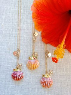 ANIKA NECKLACE: gold dipped sunrise shell necklace, hawaiian sunrise shell, sunrise shell jewelry, delicate layers, maui jewelry, beach chic
