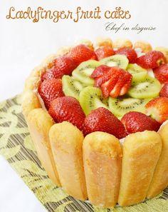 Lady finger fruit dessert from Khurana Singh Dent in disguise. Lady Fingers Dessert, Lady Fingers Recipe, Baking Recipes, Cake Recipes, Dessert Recipes, Fruit Dessert, Fruit Cakes, Baking Ideas, Quick Easy Desserts