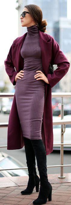 Tina Sizonova Beaujolais Body-con Turtleneck Ribbed Dress Fall Inspo  Visit www.TheLAFashion.com for more Fashion insights and tips.
