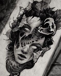 Dark Art Tattoo, Line Art Tattoos, Owl Tattoo Drawings, Tattoo Sketches, Gotik Tattoo, Creepy Tattoos, Medusa Tattoo, Tattoo Portfolio, Future Tattoos