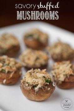 Savory Stuffed Mushrooms, filled with a warm flavorful garlic and cheese mixture, are bite sized appetizers that will please everyone at your dinner party. {Self Proclaimed Foodie}
