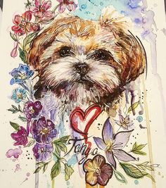 """552 Likes, 23 Comments - Joanne Baker (@milky_tattoodles) on Instagram: """"Trying to distract myself. Here's my clients pupper Tango for tomorrow. Hes a Lhasa Apso.…"""""""