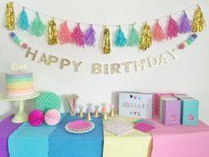 Amazon.com: Premium Happy Birthday Banner - Birthday Party Decorations - Gold Glitter With Pastel Pom Poms - premium quality unicorn rainbow gold birthday party decorations birthday banner: Toys & Games