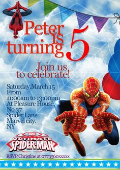 Personalized Birthday Party Invitations spider man 8 Invites Set (ANY AGE) Personalised Party Invitations, Birthday Party Invitations, Invites, Birthday Parties, Rsvp, Spiderman, Age, Anniversary Parties, Spider Man