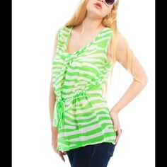 """""""Last One"""" Green Waist Tie Plus Size Top Animal print Green Waist Tie Plus Size Top. Super cute & fashionable!! Available size 1X left Material: 100%Polyester Tops"""