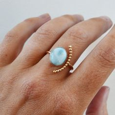 Items similar to Larimar Half Moon Ring Gold Filled Bow Beads Ring Larimar Ring Adjustable Open Stone Ring Gemstone Ring Blue Stone Ring on Etsy Beaded Rings, Gemstone Rings, Silver Beads, Silver Jewelry, Jewelry Accessories, Jewelry Design, Oxidized Sterling Silver, Argent Sterling, Larimar Jewelry