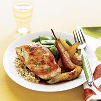 Star ingredient: skinless, boneless chicken breasts, which deliver plenty of protein with almost no artery-clogging saturated fat. Whole wheat couscous and pears add beneficial fiber, and Roma beans serve up multiple plant nutrients.