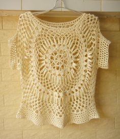 Crochet Top Womens Lace Floral Blouse Summer by Tinacrochetstudio