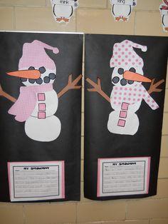 Cute snowman project from Oceans of First Grade Fun blog