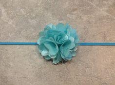 flower girl | diy with similar flowers | Aqua Baby Blue Flower Headband