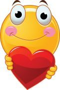 smiley with heart sticker