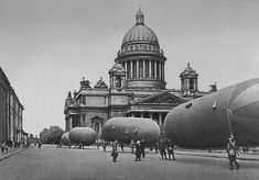 Barrage balloons around St. Isaac's Cathedral. Leningrad (St. Petersburg). Summer 1942.