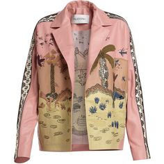 Valentino Jungle of Delight Embroidered Leather Jacket (82.170 DKK) ❤ liked on Polyvore featuring outerwear, jackets, coats & jackets, pink, tops, pink straight jacket, embroidered jacket, pink jacket, embroidery jackets and pink leather jackets