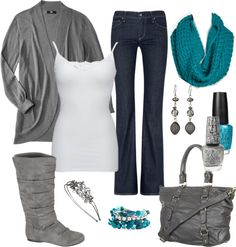 """The blue scarf is SO cute."" by chelseawate on Polyvore"