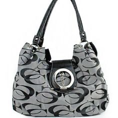 """Click Here and Buy it On Amazon.com $37.99 Amazon.com: Cleto Designer Inspired """"C C """" Signature Jacquard Unique Round Turn Over Top Detailed Tote Satchel Hobo Fashion Shoulder Handbag Purse in Grey: Clothing"""
