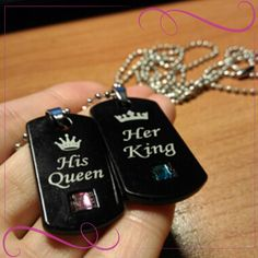 Men & Women Pendant Gifts fashion crystal jewelry #gemjewelry #fashionjewelry #fashionjewelrynecklaces #jewelrylooks Couple Necklaces, Matching Necklaces, Online Coupons, Printable Coupons, King Queen, Crystal Jewelry, Dog Tag Necklace, Pendant, Gifts