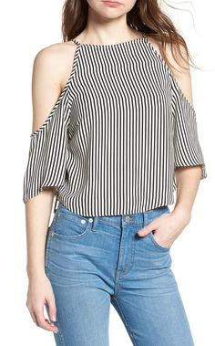 New Bishop Young Ava Stripe Cold Shoulder Top Fashion Womens Clothing. Fashion is a popular style Crop Top Outfits, Trendy Outfits, Fashion Outfits, Fasion, Young Designers, Flutter Sleeve Top, Maxi Dress With Sleeves, Nordstrom, Casual Tops