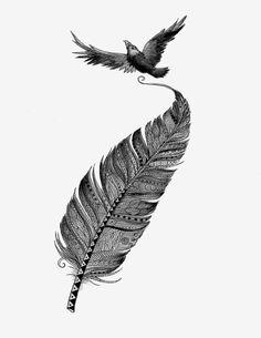 Lápiz acuarela de Cuervo y pluma Art Print blanco y negro 8 x 10