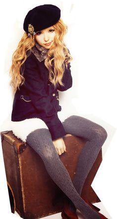 •○~ Gyaru fashion, ギャル♥ Tsubasa Masuwaka - tights - sweater - beret - hat - outfit - fashion - cute - kawaii - Japanese street fashion✮ ~•○