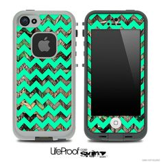 The Camo Under Green Chevron V2 Skin for the iPhone 4 or 5 LifeProof Case
