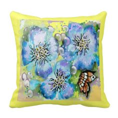 Blue Pansy and Butterfly Pillow