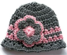 CROCHET Baby HAT  FLAPPER hat in Grey and Pink by 4PennyGirl, $10.99