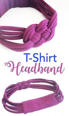 Turn an old t-shirt into a no-sew upcycled knotted t-shirt headband #upcycle #earthday #headband #spring
