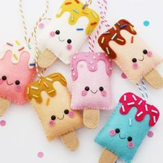 Lots of new happy ice pop ornaments are available in the shop now! Lots of new happy ice pop ornaments are available in the shop now! Felt Crafts Patterns, Felt Crafts Diy, Felt Diy, Fabric Crafts, Fun Crafts, Sewing Crafts, Sewing Projects, Doll Patterns, Sewing For Kids