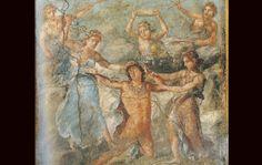Fresque de Pompéi, VI, 15, 1 maison des Vettii, triclinium, paroi est - http://helios.fltr.ucl.ac.be/gibaud/POMPEI-5e/fresque-6-tableau-nu.html