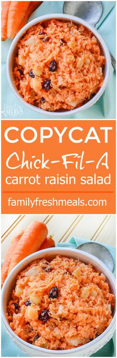 Nothing beat this COPYCAT Chick-Fil-A Carrot Raisin Salad Recipe! fil a super food salad recipe Chopped Salad Recipes, Spinach Salad Recipes, Carrot Recipes, Sweet Potato Recipes, Carrot Ideas, Poblano, Family Fresh Meals, Copycat Recipes, Soup And Salad