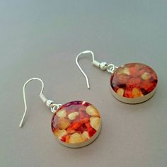 Chilli Flakes Earrings -  silver-plated with sterling silver hooks,handmade jewelry, design from natural materials by IGUECO on Etsy https://www.etsy.com/uk/listing/290682087/chilli-flakes-earrings-silver-plated