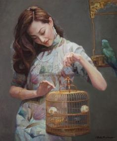 Chen Yifei - Lady with birdcage