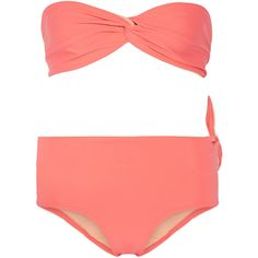 Solid and Striped The Grace bandeau bikini found on Polyvore featuring swimwear, bikinis, orange, bikini swim wear, tie bikini, striped swimwear, orange bikini and stripe bikini