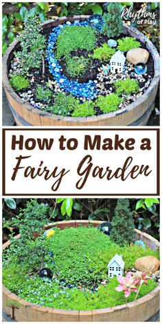 Learn how to make your own fairy garden using this easy step by step tutorial. Miniature gardens are a lovely addition to any porch, deck, backyard, or garden. They also make magical small worlds for kids that are perfect for imaginative or pretend play. | #RhythmsOfPlay #FairyGarden #FairyGardenDIY #DIYForKids #KidsDIY #BackyardFun #GetOutside