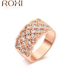 ROXI Anel de Moda Unissex rosa banhado a ouro mulheres/homens da moda jóias de casamento/Chrismas presente de cristal Austríaco 2010016315